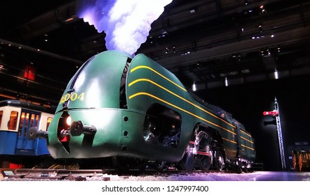 Brussels / Belgium - April 4 2018: A huge Belgium green steam locomotive in the National Railway Museum 'Train World' of the NMBS