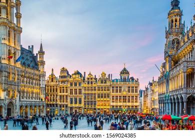 BRUSSELS, BELGIUM - APRIL 6, 2019 :: Unique building with Illumination of light at Grand Place Square, a famous landmark of Belgium.