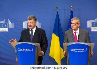 BRUSSELS, BELGIUM - Aug 27, 2015: President of Ukraine Petro Poroshenko during a joint press conference with European Commission President Jean-Claude Juncker in Brussels