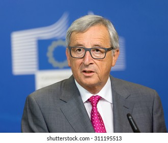 BRUSSELS, BELGIUM - Aug 27, 2015: European Commission President Jean-Claude Juncker during a joint press conference with President of Ukraine Petro Poroshenko in Brussels