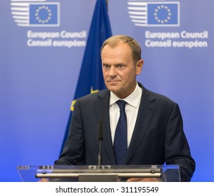 BRUSSELS, BELGIUM - Aug 27, 2015: President of the European Council Donald Tusk during a meeting with President of Ukraine Petro Poroshenko in Brussels
