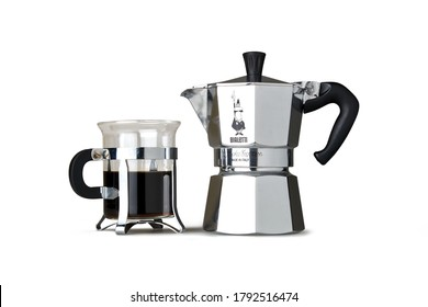 Brussels, Belgium - August 09, 2020: Bialetti stove-top moka pot coffee maker isolated on white. Bialetti, an Italian company, created this design in 1933, and hasn't changed it much since then.