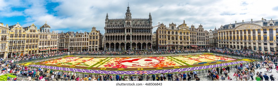 Brussels, Belgium - August 13, 2016 : Floral Carpet in Grand Place in Brussels. This event takes place every 2 years; in 2016, the design was chosen to celebrate the 20th Flower Carpet.