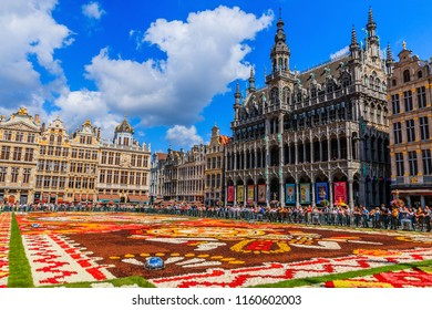 Brussels, Belgium  - August 16, 2018: Grand Place in a sunny day during Flower Carpet Festival.