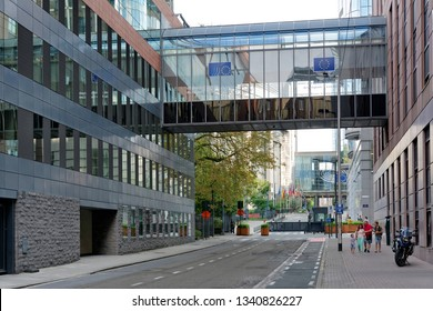 BRUSSELS, BELGIUM - AUGUST 16, 2018: Exterior of the building of the European Parliament in Brussels. It exercises the legislative function of the EU.