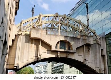 BRUSSELS, BELGIUM - AUGUST 16, 2018: Le Fil d'Ariane bridge on Rue Belliard street in Brussels, Belgium.