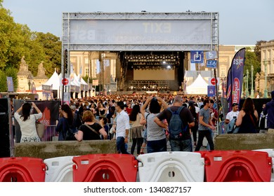 BRUSSELS, BELGIUM - AUGUST 16, 2018: People enjoying a music event in the Brussels summer festival.