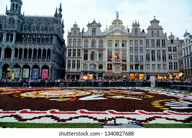 "BRUSSELS, BELGIUM - AUGUST 16, 2018: Famous Grand Place during the official opening of the Flower Carpet Festival with the theme ""Guanajuato, cultural pride of Mexico""."