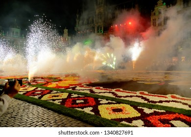 "BRUSSELS, BELGIUM - AUGUST 16, 2018: Famous Grand Place during the official opening of the Flower Carpet Festival with the theme ""Guanajuato, cultural pride of Mexico"" with sound and light show."