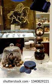BRUSSELS, BELGIUM - AUGUST 16, 2018: Chocolate shop with a big variety of sweets and belgian chocolate