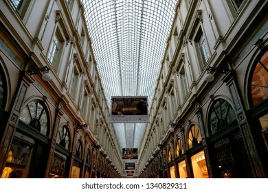 BRUSSELS, BELGIUM - AUGUST 16, 2018: The Royal Galery of St Hubert exterior in Brussels.It is a glazed shopping arcade, home to lots of luxury boutiques, clockmakers and chocolate shops.