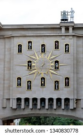 BRUSSELS, BELGIUM - AUGUST 16, 2018: Le Carillon du Mont des Arts, Jacquemart Carillon clock with 24 bells and 12 figurines that represent historic of Brussels, built on occasion of 1958 World Fair.