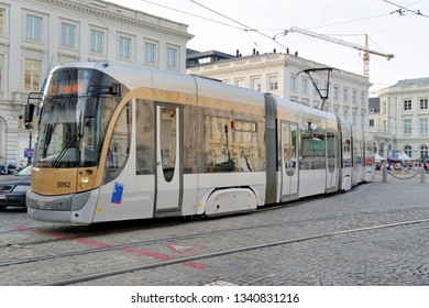 BRUSSELS, BELGIUM - AUGUST 16, 2018: Tram in the city of Brussels. The Tram system of the city has 19 lines, and the first horse powered line started in 1869.