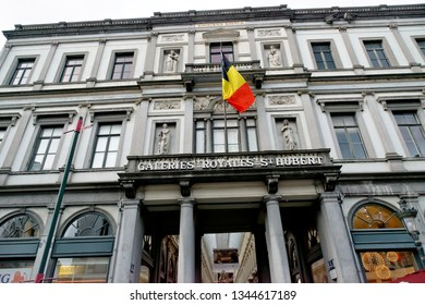 BRUSSELS, BELGIUM - AUGUST 16, 2018: The Royal Galery of St Hubert exterior in Brussels. It is a glazed shopping arcade, home to lots of luxury boutiques, clockmakers and chocolate shops.