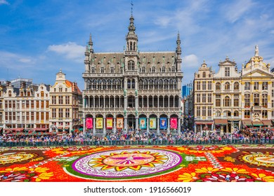 Brussels, Belgium - August 16, 2018: Grand Place during Flower Carpet festival. This year theme was Mexico.