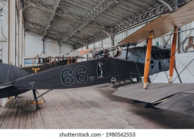 Brussels, Belgium - August 17, 2019: 3rd Reconnaissance Squadron Sopwith 1½ Strutter British biplane in The Royal Museum of the Armed Forces and Military History, famous military museum in Brussels.