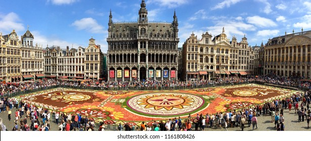 Brussels, Belgium – August 19, 2018: A panoramic bird's eye view of the 2018 Brussels Flower Carpet in the Grand Place.