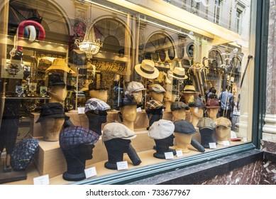 Brussels, Belgium - August 26, 2017: Millinery store in the Galeries Royales Saint Hubert in Brussels, Belgium