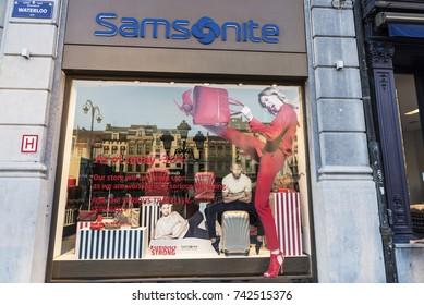 Brussels, Belgium - August 27, 2017: Samsonite shop in the center of Brussels, Belgium
