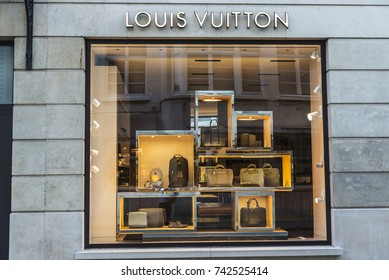 Brussels, Belgium - August 27, 2017: Louis Vuitton shop in the center of Brussels, Belgium