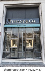 Brussels, Belgium - August 27, 2017: Tiffany & Co shop in the center of Brussels, Belgium