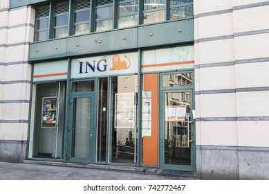 Brussels, Belgium - August 27, 2017: Branch of the ING bank in the center of Brussels, Belgium