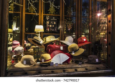 Brussels, Belgium - August 27, 2017: Millinery store in the center of Brussels, Belgium