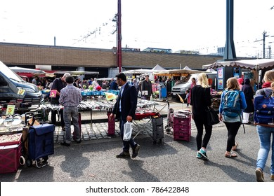 BRUSSELS, BELGIUM - August 27, 2017: Street view of market in Brussels city, Belgium.