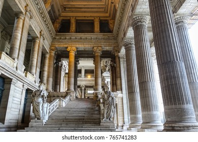 BRUSSELS, BELGIUM - AUGUST 4, 2016: Palace of Justice in Brussels, Belgium, built 1866-1883 by architect Joseph Poelaert in the eclectic and neoclassical style, is the seat of important courts.