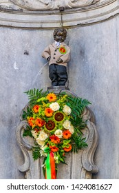 BRUSSELS, BELGIUM, AUGUST 4, 2018: manneken pis statue in costume in Brussels, Belgium
