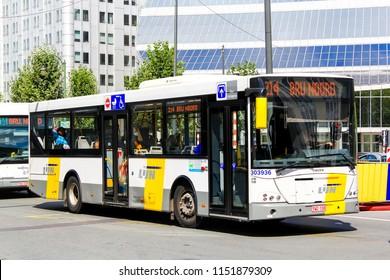 Brussels, Belgium - August 9, 2014: Urban bus VDL Jonckheere Transit of the De Lijn company the city street.
