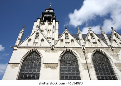 Brussels, Belgium. Church in district Marolles (Marollen). Notre Dame de la Chapelle (Kapellekerk). Romanesque-Gothic style. Famous painter Peter Bruegel the Elder is buried here.