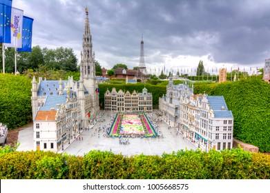 BRUSSELS, BELGIUM - CIRCA JUNE 2017: Grand Place with flower carpet