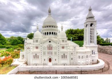 BRUSSELS, BELGIUM - CIRCA JUNE 2017: Basilica of the Sacred Heart (Sacre-Coeur) in mini Europe park