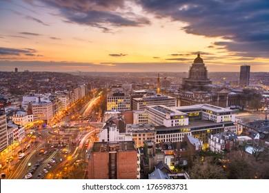 Brussels, Belgium cityscape at Palais de Justice during dusk.