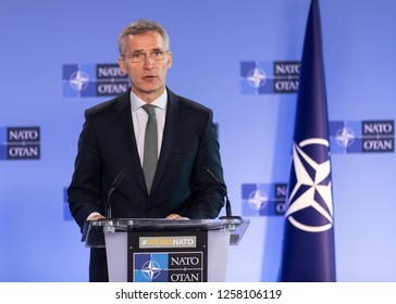 BRUSSELS, BELGIUM - Dec 13, 2018: Portrait of NATO Secretary General Jens Stoltenberg during a joint briefing with President of Ukraine Petro Poroshenko