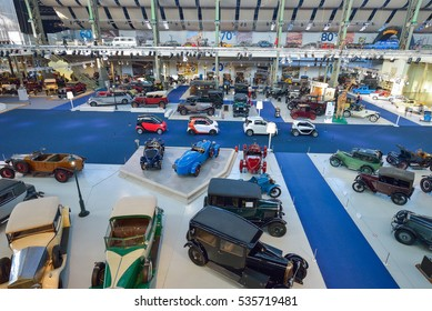 BRUSSELS, BELGIUM - DECEMBER 05 2016 - Autoworld Museum, old cars collection showing the history of automobiles from the beginnings.