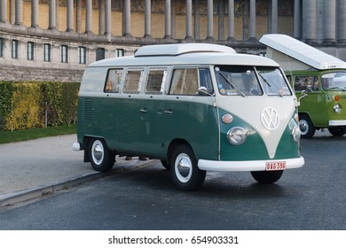 BRUSSELS, BELGIUM - DECEMBER 1, 2013: Volkswagen Type 2 at the Cinquantenaire park during vintage car expo.