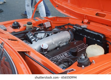BRUSSELS, BELGIUM - DECEMBER 1, 2013: Engine of BMW 2002 Tii Touring vintage car at the Cinquantenaire park during annual winter Oldtimer meeting