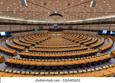 BRUSSELS, BELGIUM - december 14, 2018: The European Parliament hemicycle (debating chamber) - Image