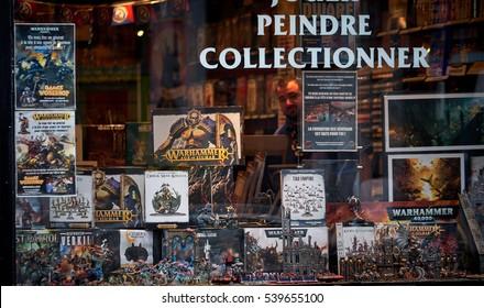BRUSSELS, BELGIUM - DECEMBER 15, 2016: Pewter puppets - monsters store window in Brussels