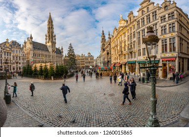 Brussels - Belgium, december 15, 2018 : Tourists visiting Grande Place, Grote Markt, Brussels, Belgium, Europe - Image