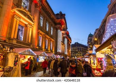 Brussels, Belgium - December 19th 2014 - Big group of people enjoying the Christmas market in downtown Brussels in Belgium
