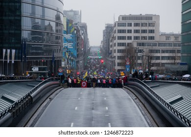 Brussels, Belgium - December 2, 2018 - More than 75000 people took on the streets of Brussels during the ClaimTheClimate march to request stronger political actions to fight climate change.