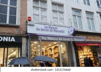 Brussels, Belgium - December 23, 2018: La Maison du Savon de Marseille store exterior. Hailing from the heart of Provence, La Maison du Savon de Marseille specializes in the creation of Marseille Soap