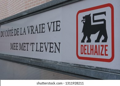 Brussels, Belgium - December 24, 2018: Delhaize sign. Delhaize Le Lion / De Leeuw was a food retailer headquartered in Molenbeek-Saint-Jean, Brussels, providing operation of food supermarkets