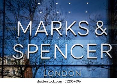 BRUSSELS, BELGIUM - DECEMBER 3, 2016: Marks & Spencer sign - store in Brussels