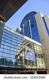Brussels, Belgium - December 30, 2016: European Parliament building exterior. The Berlaymont is an office building in Brussels, Belgium, that houses the headquarters of the European Commission