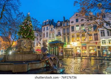 Brussels, Belgium - December 4, 2017: Vintage buildings in downtown area Brussels, Belgium at twilight