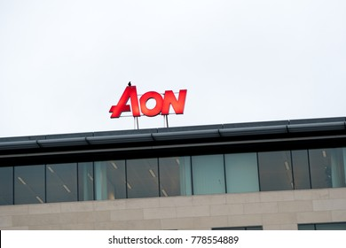 Brussels, Belgium - December 7, 2017: Aon signage. Aon is market leader in insurance and reinsurance brokerage, risk management and employee benefits